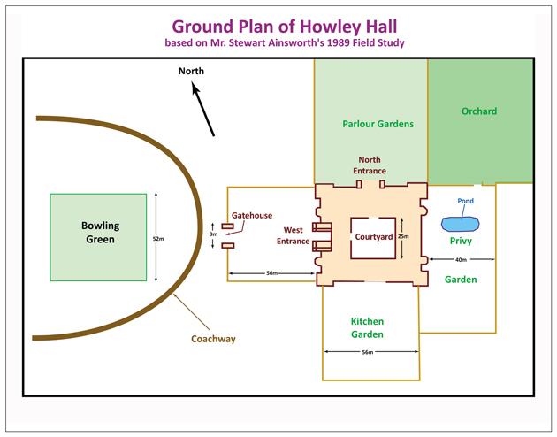 Ground Plan of Howley Hall. 1700c