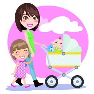 Woman holding hands with little girl and pushing baby carriage