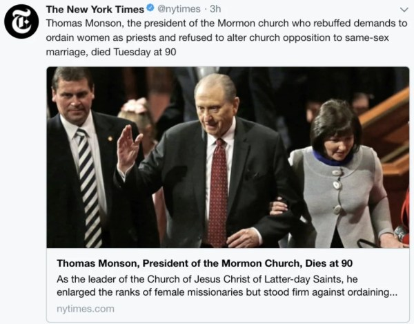 new york times monson headline