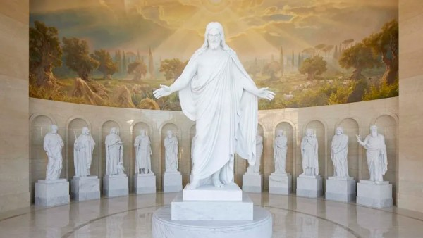 The Christus and the apostles in the Rome Italy Temple Visitors' Center.