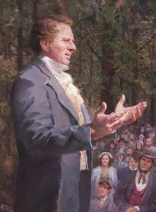 Joseph Smith speaking to crowd