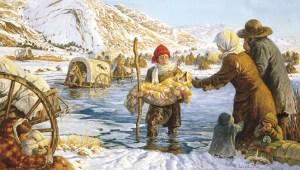 Pioneer child crossing river