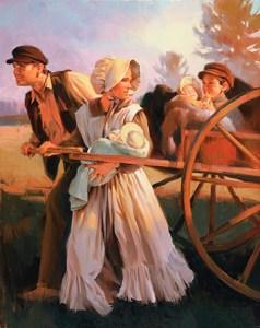 Handcart pioneer family