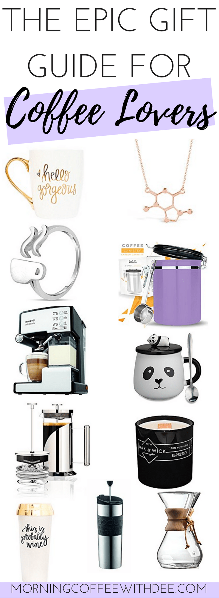 The amazingly epic gift guide for coffee lovers! 30 gift ideas just for the special coffee lover in your life. I even got input from other fellow coffee lovers to help put this gift list together! | holiday gift guide | gifts for coffee lovers | gift ideas for coffee lovers | coffee gifts | gifts for coffee drinkers | holiday gift ideas | christmas gift guide | unique gifts for coffee lovers christmas