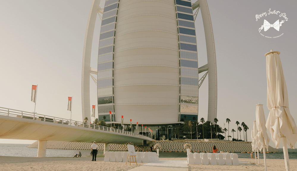 Wedding day with panoramic view of the Burj Al Arab, Dubai