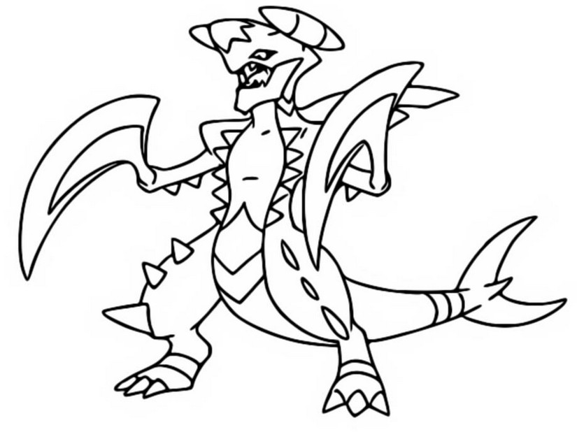 coloring page mega evolved pokemon mega garchomp 445 445