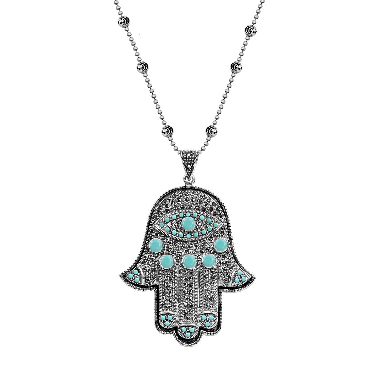 MINDFUL PERSPECTIVE - TURQUOISE HAMSA PENDANT NECKLACE