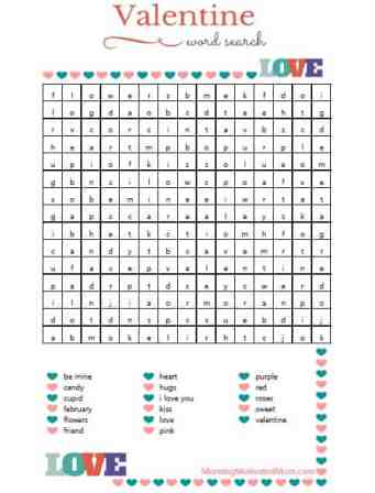 Valentine Word Search Printable Free