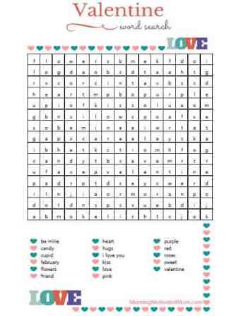 Valentine Word Search Printable Free