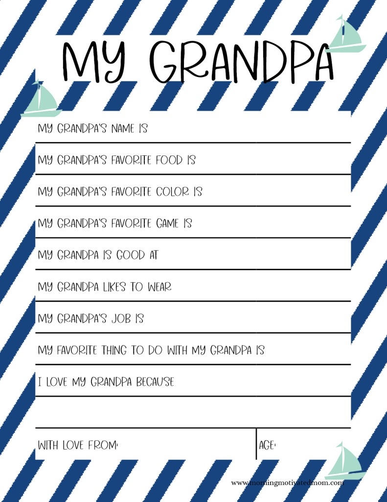 Free Father's Day Activity for Grandpa. Have your children fill out this All About My Grandpa printable for Father's Day. Grandpa will love to hear what his children have to say! It's the perfect Father's Day gift from the kids. Handmade Gift for Grandpa - My Grandpa Printable Page #fathersday #fathersdayprintable