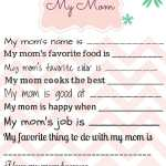 Handmade Gift for Mom – My Mom Printable Page