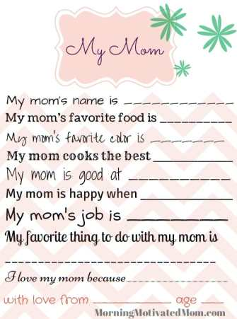 All About My Mom Free Printable