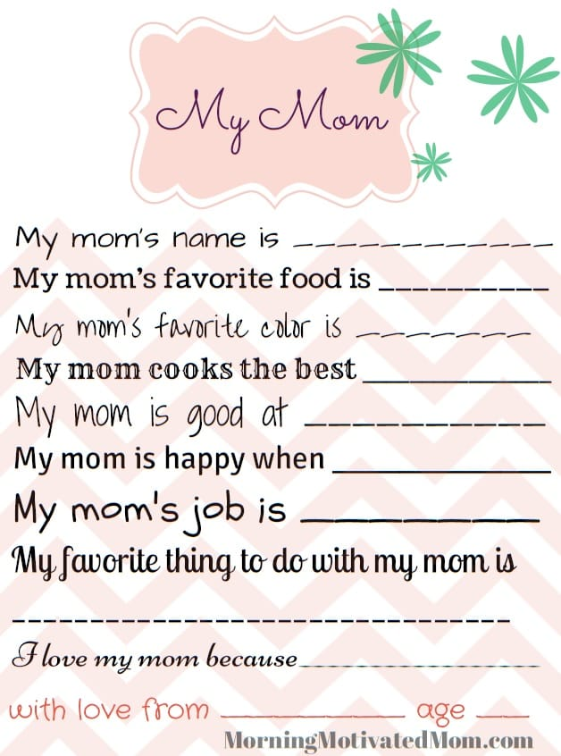 Good Handmade Gift For Mom   My Mom Printable Page. All About Mom. All About