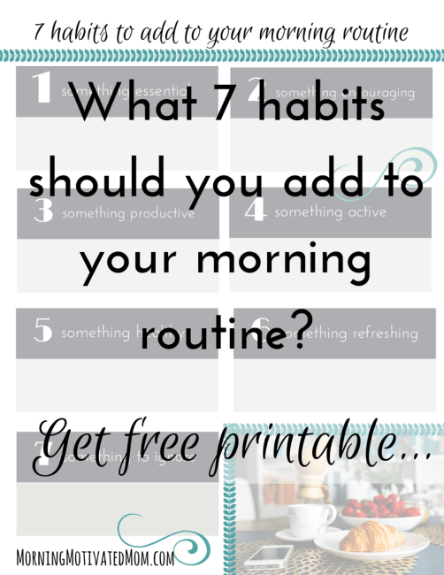 7 habits to add to your morning routine printable worksheet