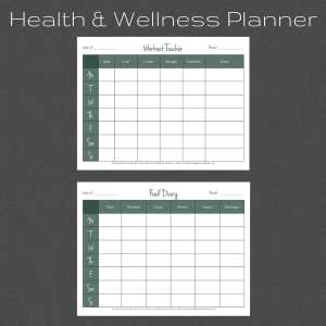 Health and Wellness Planner. Fitness Log. Food Log.