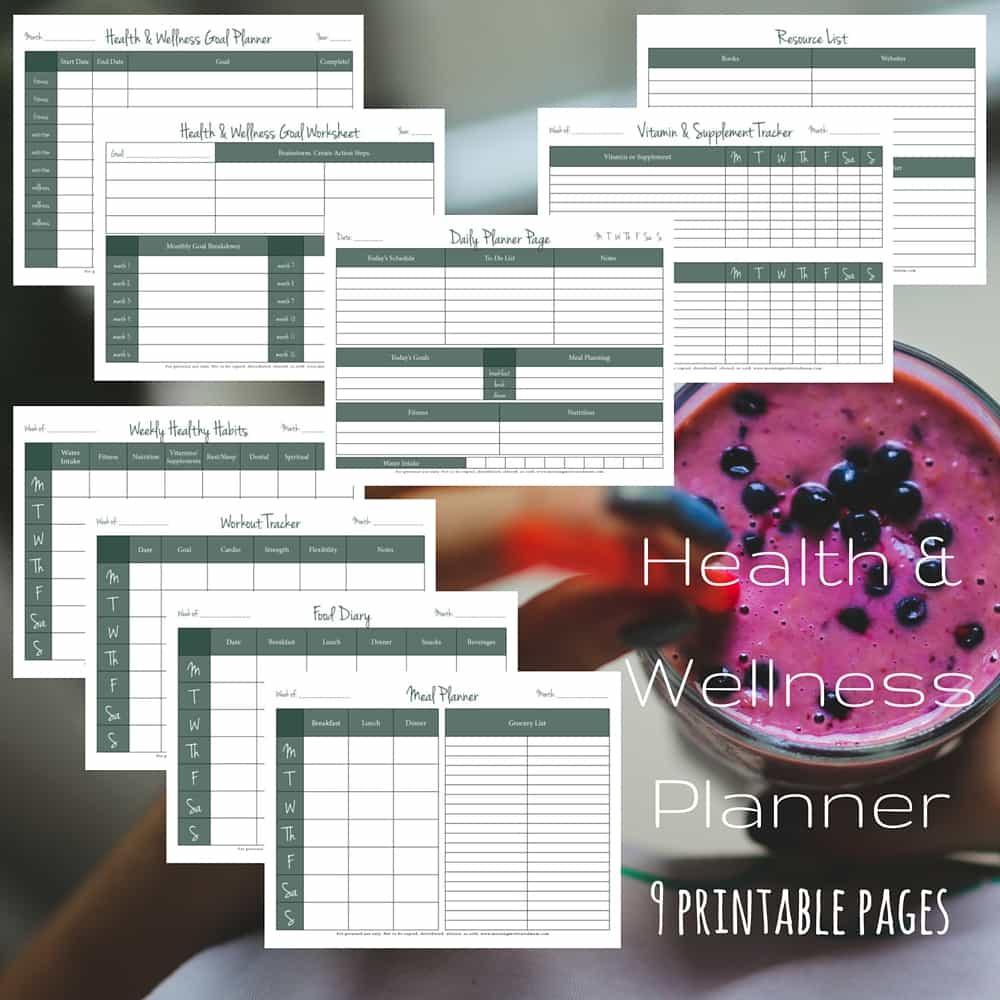 Health and Wellness Printable Planner. 9 Page Workbook.