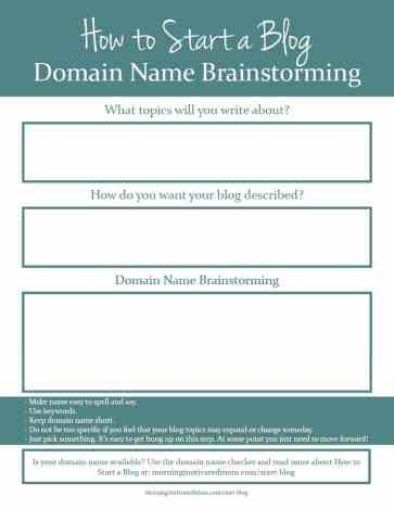 How to Start a Blog. How to pick a domain name. Domain Name Printable.