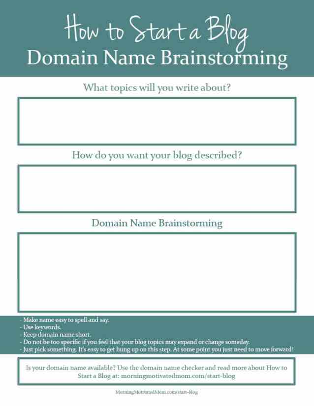 How to Start a Blog. How to pick a domain name. Domain Name Printable.