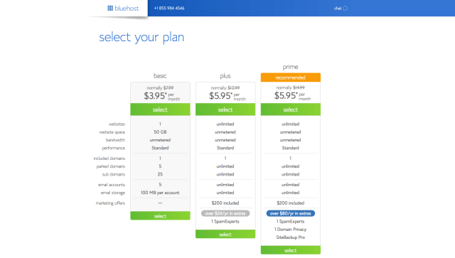 How to start a blog. Select a Bluehost Plan.