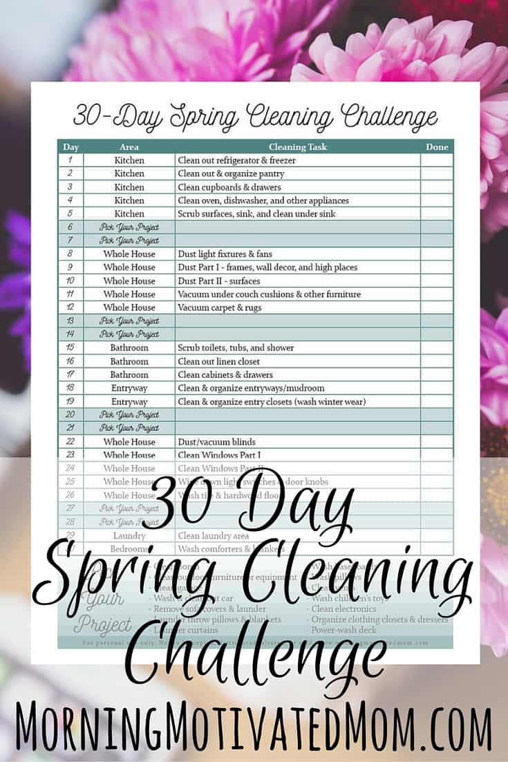 30 Day Spring Cleaning Printable – Morning Motivated Mom
