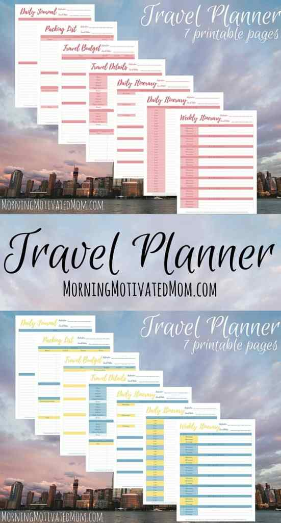 Travel Planner Printables. Organize your next vacation or trip with this Travel Planner. Includes printables for: Travel Details, Weekly Itinerary, Daily Itinerary, Packing List, Daily Journal, Travel Budget,