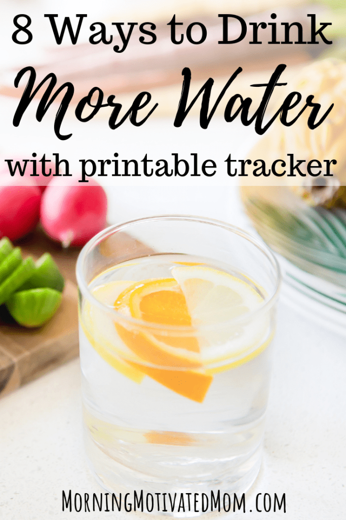 8 Ways to Drink More Water Every Day. With free printable water intake tracker. Healthy Living Tips | Free Printables to help you prioritize your health.