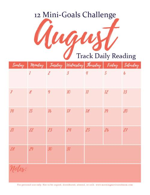 August Mini Goal: Track Daily Reading