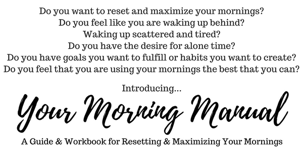 Do you want to reset and maximize your mornings? Do you feel like you are waking up behind? Waking up scattered and tired? Do you have the desire for alone time? Do you have goals you want to fulfill or habits you want to create? Do you feel that you are using your mornings the best that you can? Introducing Your Morning Manual: A Guide and Workbook for Resetting and Maximizing Your Mornings