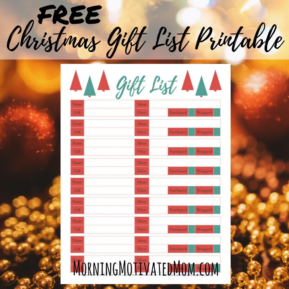 Christmas Gift Planner: Free Christmas Gift List Printable