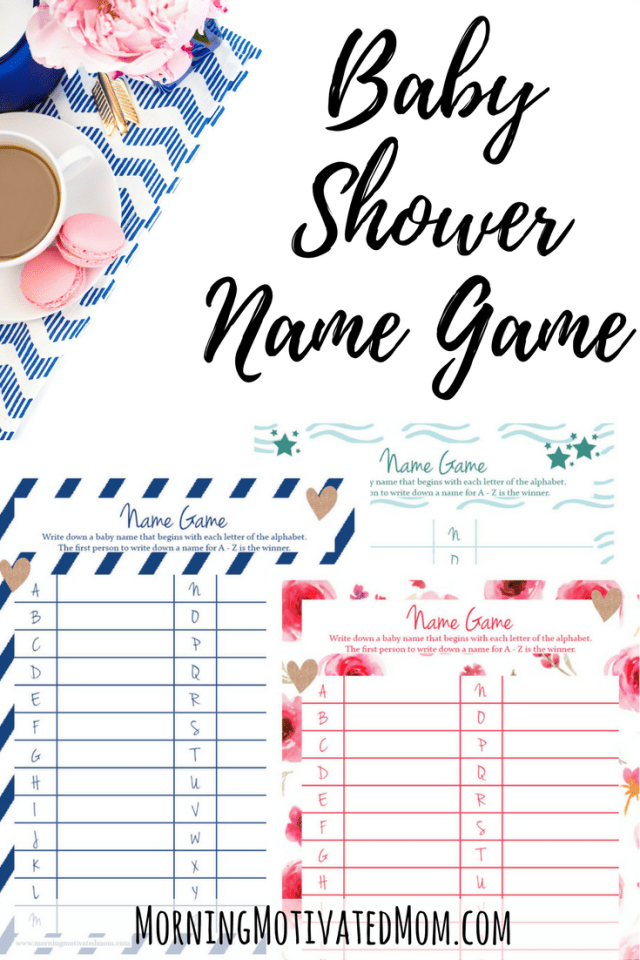 Baby Shower Name Game Printable. Available in 3 colors: pink, blue, and teal