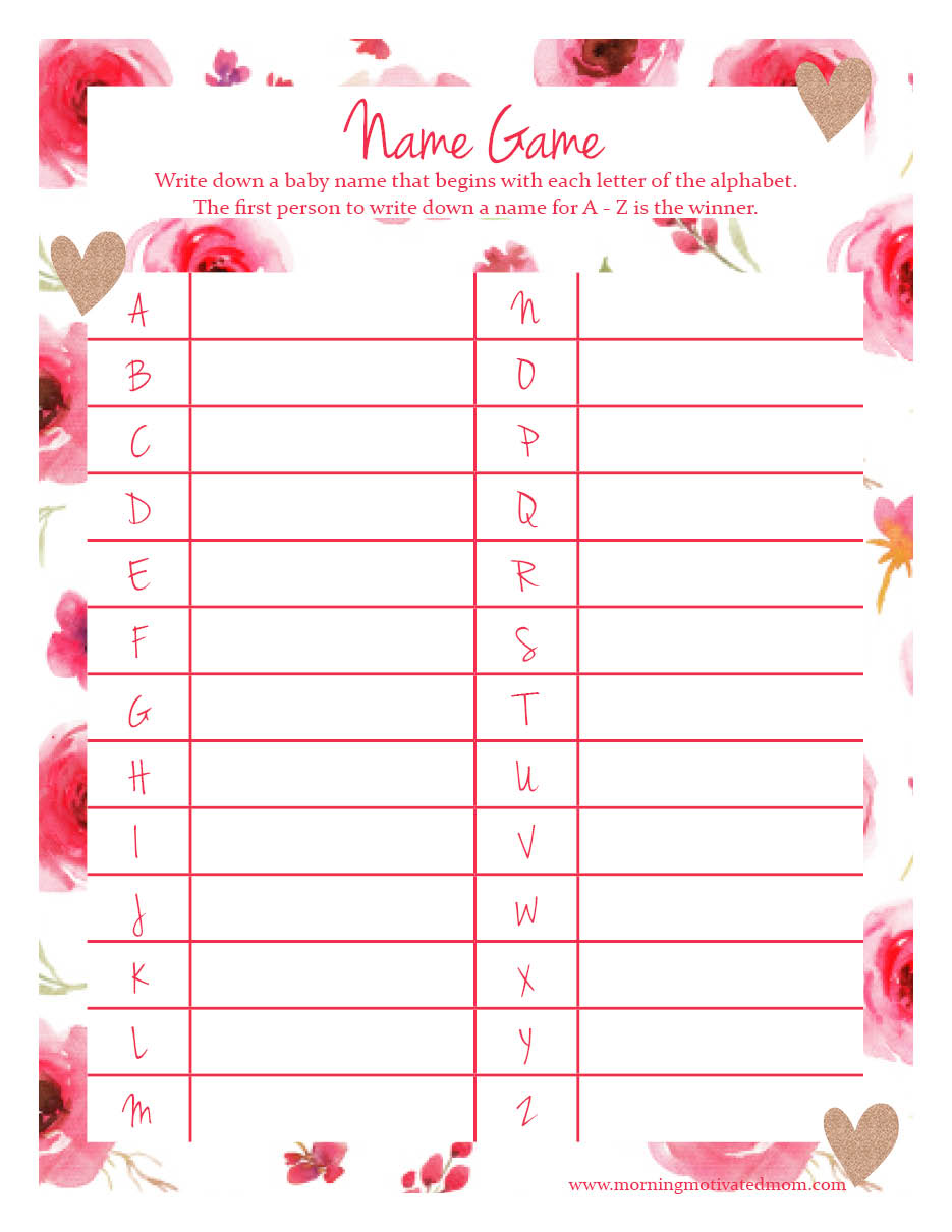 Baby Shower Name Game Printable In Pink. Free.
