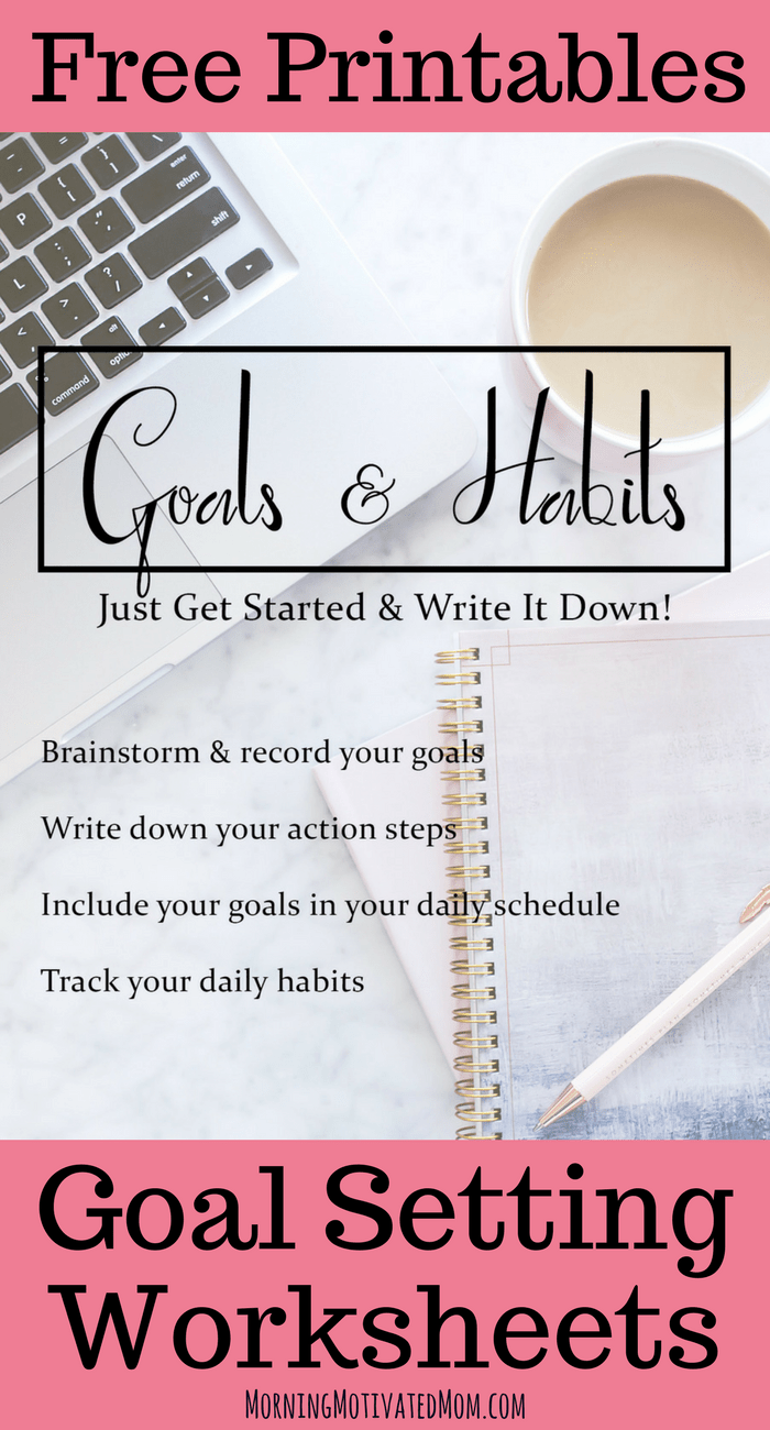 This free printable Goal Setting Workbook is a set of simple worksheets to give you a place to brainstorm and record your goals, write down your action steps, include your goals in your daily schedule, and track your daily habits.
