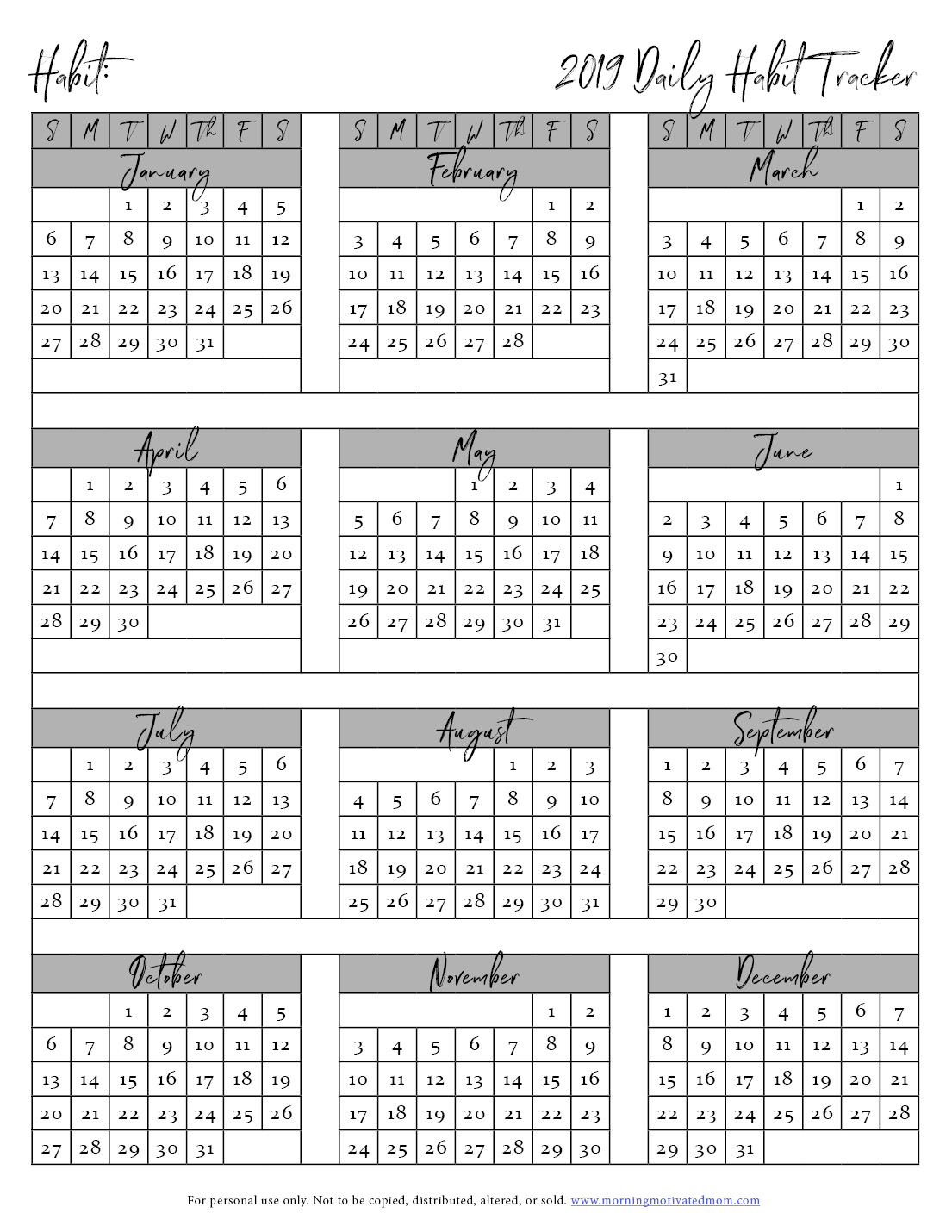 photo regarding Daily Habit Tracker Printable called Totally free Printable Behavior Tracker Early morning Impressed Mother