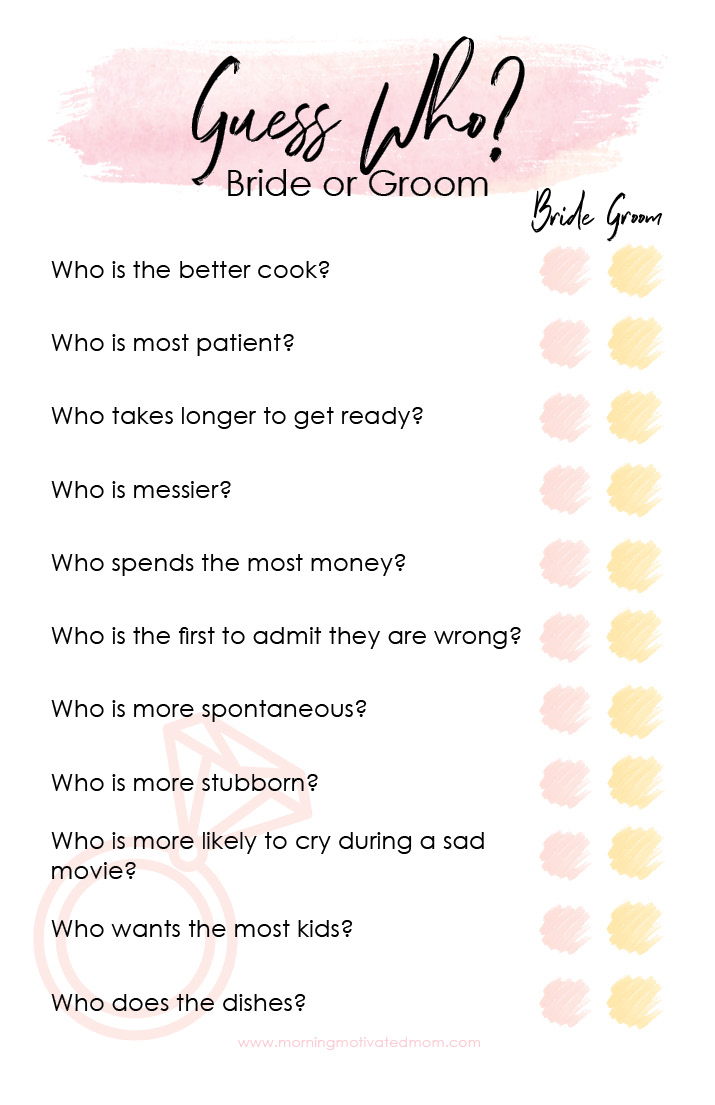 picture regarding Free Printable Wedding Shower Games identify Bridal Shower Video game Printable - Bet Who Early morning Influenced Mother