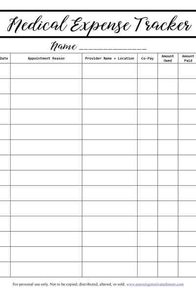 Keep track of all your family's medical expenses on this free medical expense tracker printable. Stay organized and manage your medical expense budget.