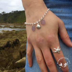 Mornington Sea Glass Sea Shell Charm Bracelet Beach Shot