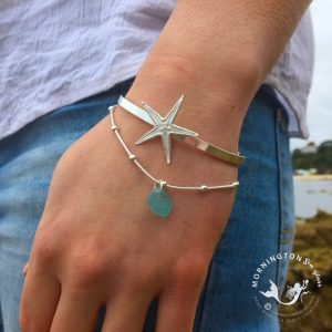 Mornington Sea Glass Sea Star Cuff and Layer Bracelet Beach Shot