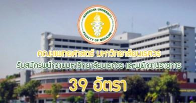 คณะแพทยศาสตร์ เปิดรับพนักงานมหาวิทยาลัยนเรศวร และพนักงานราชการ 39 อัตรา (เงินงบประมาณรายได้) ครั้งที่ 2/2560 ตำแหน่ง เภสัชกร จำนวน 6 อัตรา ตำแหน่ง