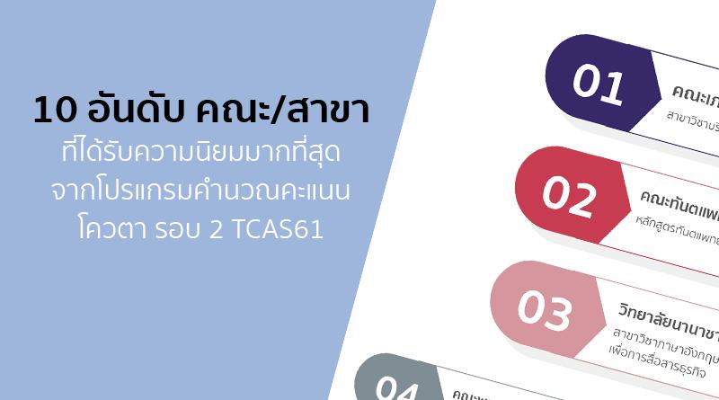 10 อันดับ คณะ/สาขา ที่ได้รับความนิยมมากที่สุด จากโปรแกรมคำนวณคะแนน โควตา รอบ 2 #TCAS61