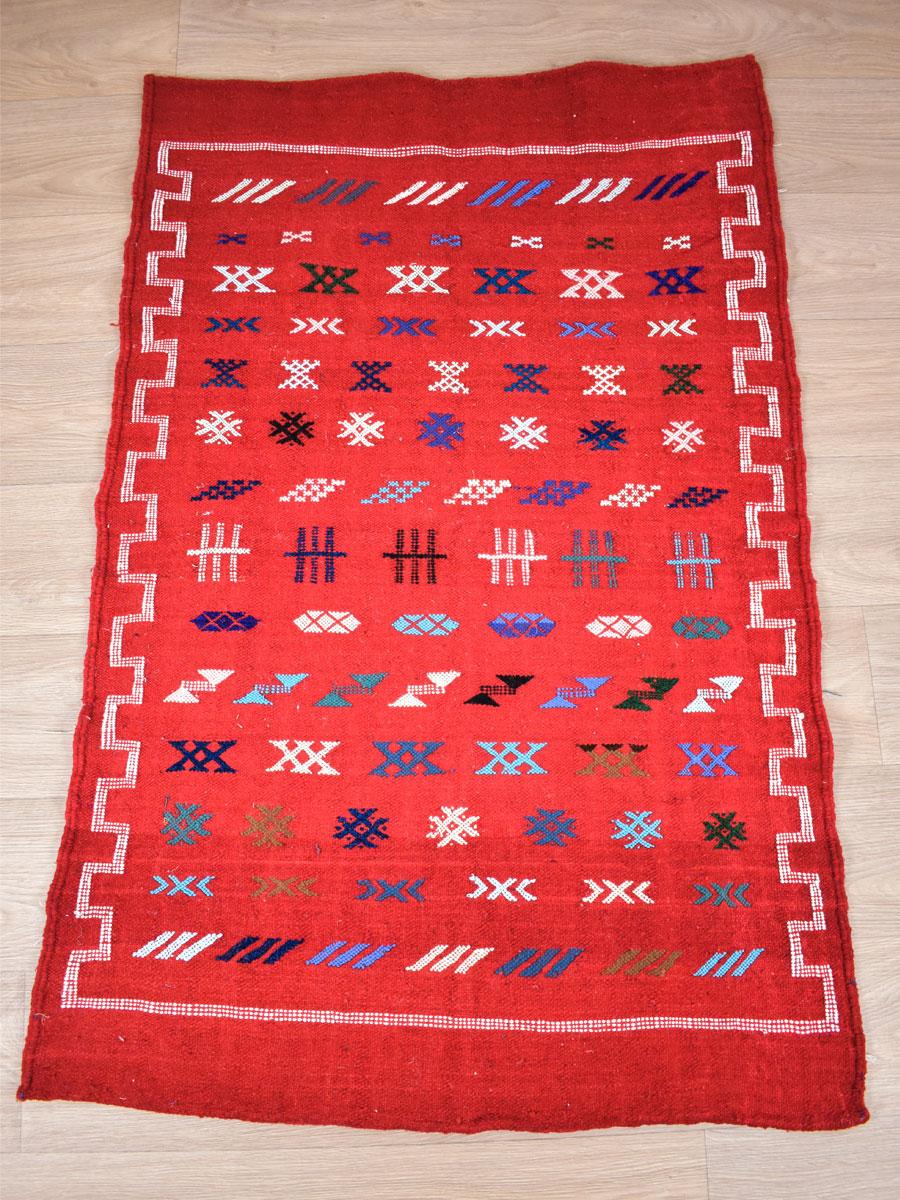 tapis kilim rouge 140 x 90 cm