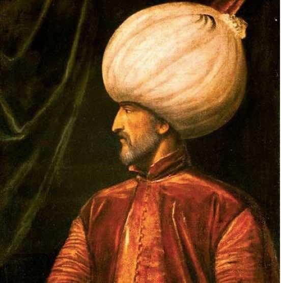 Seltenes Gemälde des italienischen Malers Tiziano Vecellio mit dem osmanischen türkischen Sultan Suleiman dem Prächtigen (Regierungszeit 1520-1566)