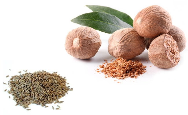 Nutmeg Powder and Cumin Seeds