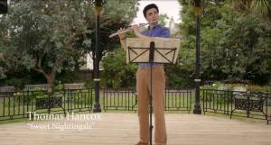 flautist Thomas Hancox plays the traditional Cornish folk tune 'Sweet Nightingale' in the bandstand in Morrab Gardens!