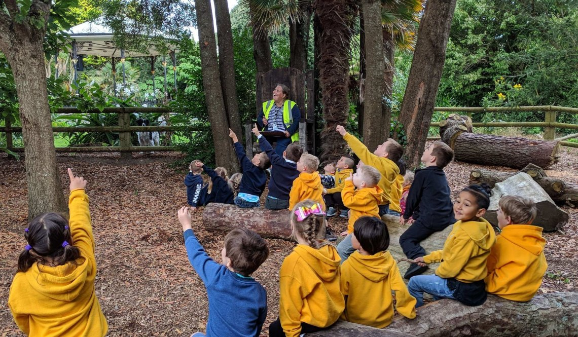 Morrab Gardens has an outdoor classroom, created with assistance from Cornwall Councillor Jim McKenna's Community Fund. Tree surgeon, sculptor and rustic furniture-maker Aldous George donated and installed the BFG's chair.