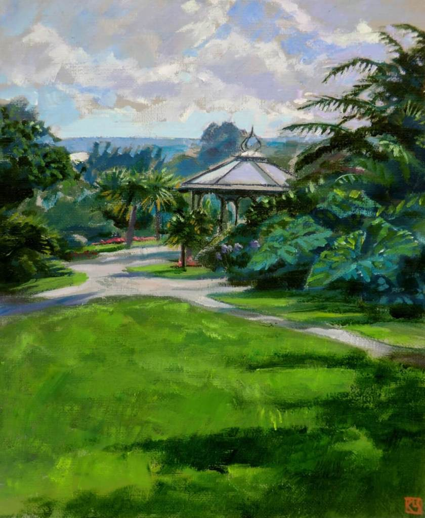 The Bandstand, Morrab Gardens. A painting by Lee Stevenson
