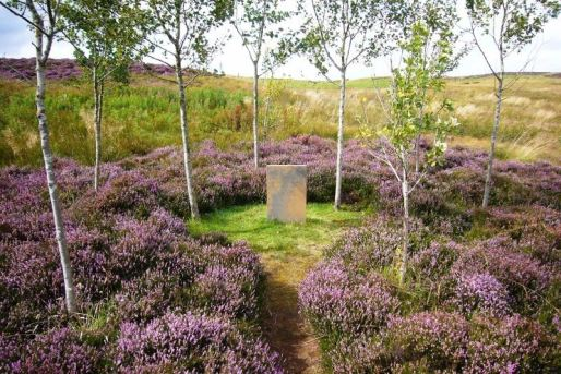 The garden at Little Sparta was first established in 1962 and developed as a 'garden poem'.  Here, drifts of heather and a ring of young birch trees surround an engraved stone tablet