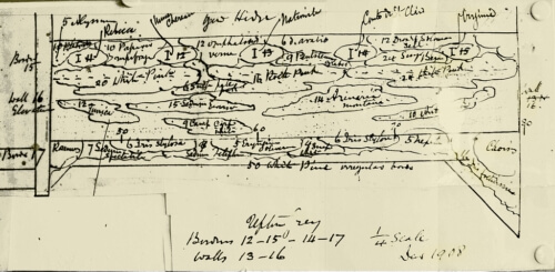 A copy of part of Gertrude Jekyll's hand-drawn plans for the world-famous garden at the Manor House in Upton Grey, Hampshire
