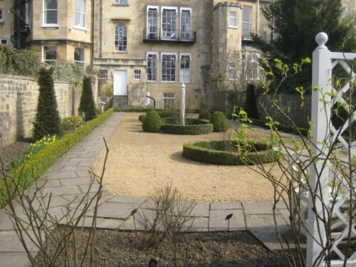 A view of the Georgian Garden at the rear of Number 4 King's Circus, Bath