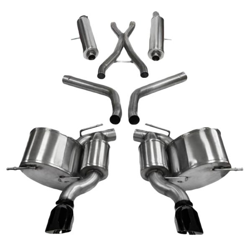 corsa 2 75 sport cat back exhaust system with dual rear exit 4 5 black pro series tips
