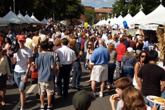 crowd of people at the Morristown Festival on the Green event